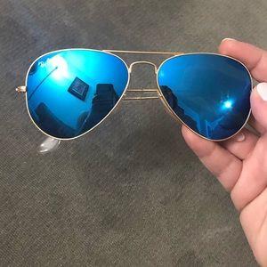 Ray-Ban blue rose gold frame aviator sunglasses